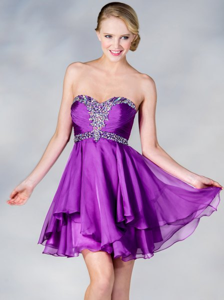 strapless deferred mini tulle dress