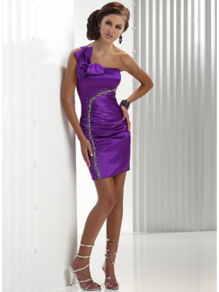a shoulder ruched bodycon mini silk dress