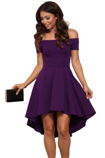 purple from the shoulder suits and flare mini cocktail dress