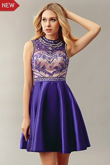 silver and purple half flower embroidered cocktail dress
