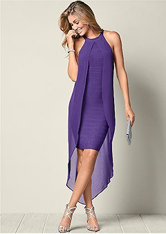 two layers layer purple maxi shift chiffon dress