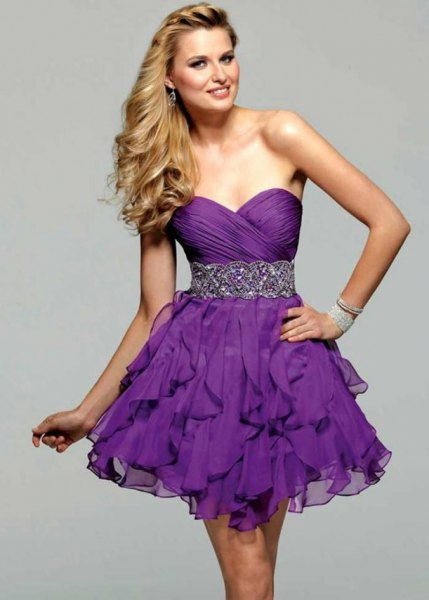 purple sweetheart belt ruffle mini cocktail dress