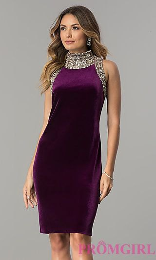 deep purple and silver silk and sequin knee length cocktail dress