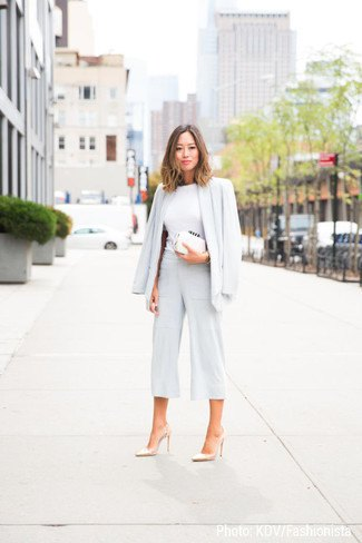 blazer with white sweater with hair loss and wide leg trousers