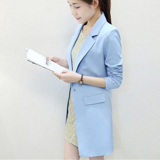light blue longline blazer with pink lace mini dress