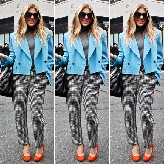 short blazer with plaid straight leg pants