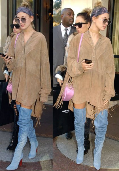 camel suede gown dress with denim boots