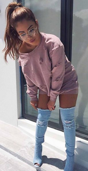 gray buckle neck sweatheart dress with denim open toe thigh high boots