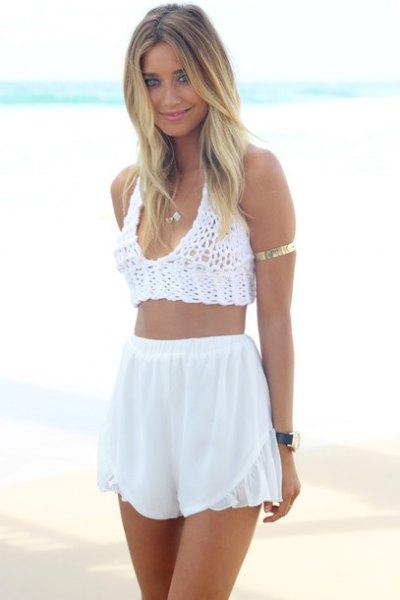 crochet knit crop top with white high waist chiffon shorts