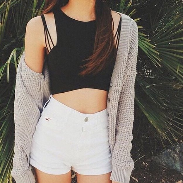 black crop top with white mini shorts and long line cardigan