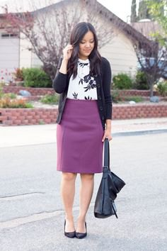 black cardigan with white print sweater and purple pencil skirt
