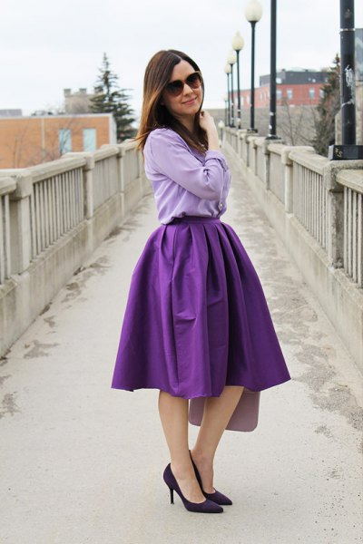light blue chambray shirt with purple puffy midi skirt
