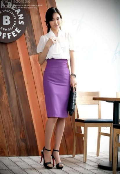 white ribbon bow blouse with purple pencil skirt