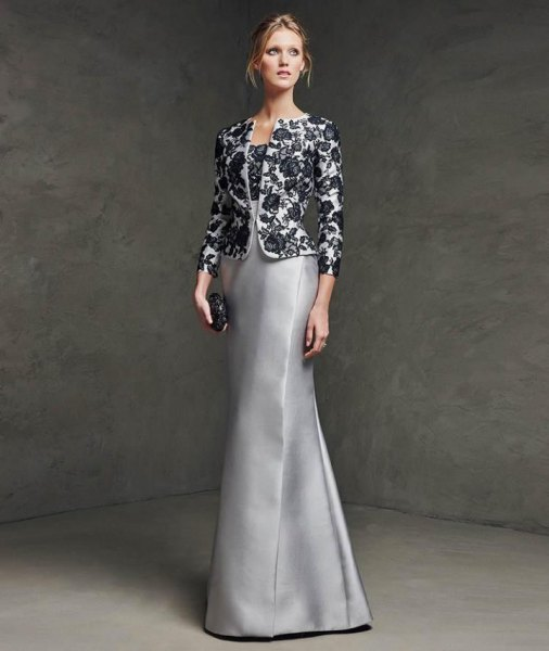 black and white floral lace shape evening jacket with silver silk dress