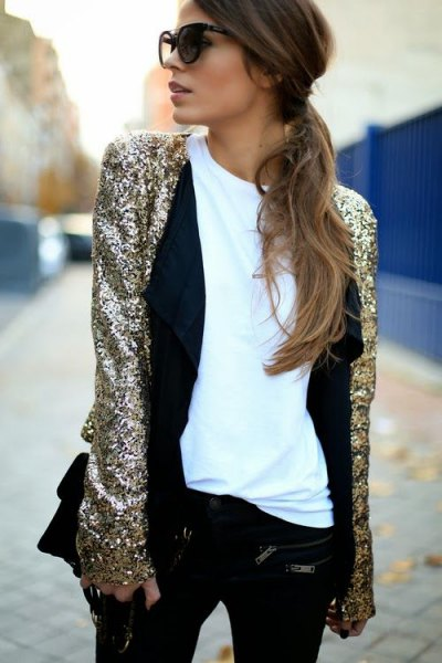 silver colored evening jacket with white tee and black vest