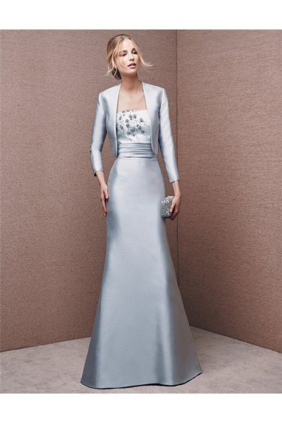 silver silk evening jacket with matching floor length flowing dress