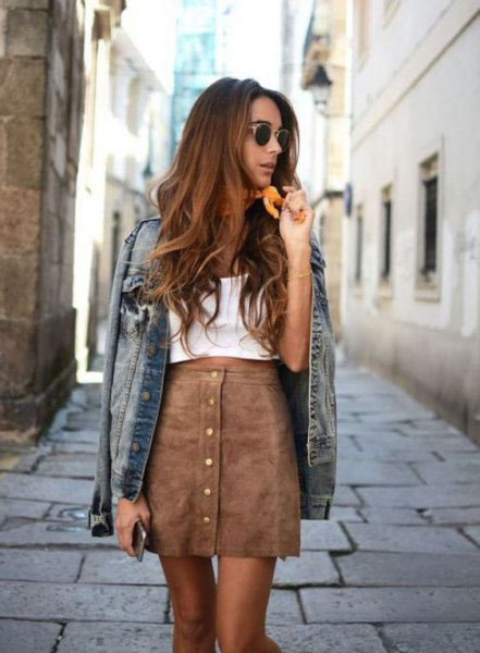 white top with gray mini skirt in suede and denim jacket