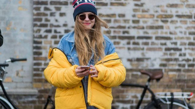yellow puffer skirt with blue denim jacket