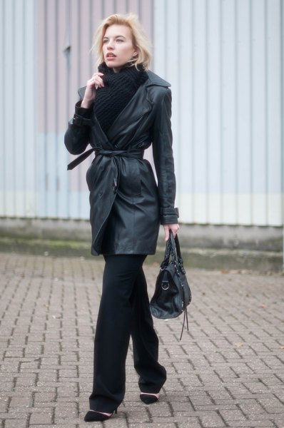 belt of leather graph with black scarf and sweater