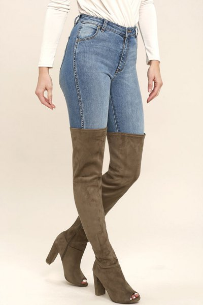 camel over knee pad with open toe boots with slim jeans