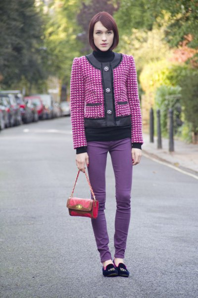 pink and silver-lined jacket with purple skinny jeans