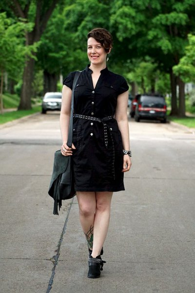 black belt button up shirt dress with short boots