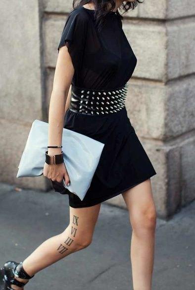 double wide belt with black t-shirt dress