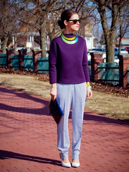 purple long sleeve top with white and navy printed casual fit pants