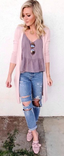 ruffle home v neck top with white cardigan and boyfriend jeans