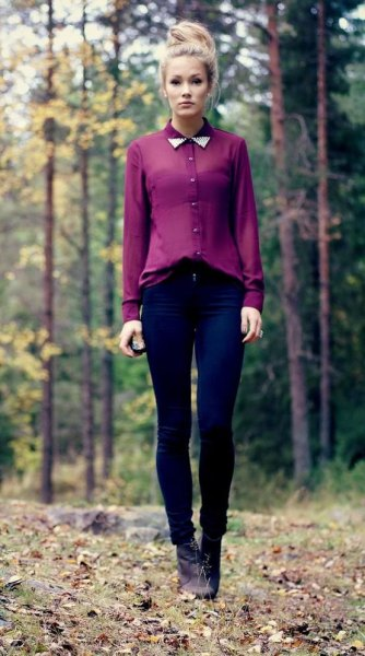half pure chiffon shirt with dark blue skinny jeans