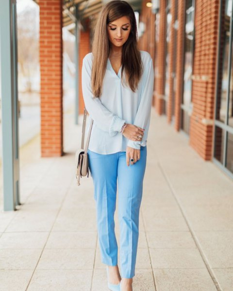 white chiffon blouse with light blue casual fit cropped pants