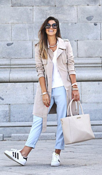 pink pink long blazer with light blue cuff pants