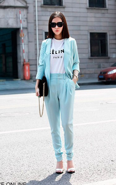 light blue tapered leggings with matching blazer