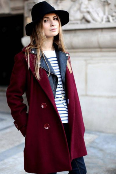 burgundy trench coat with black and white striped sweater and felt hat