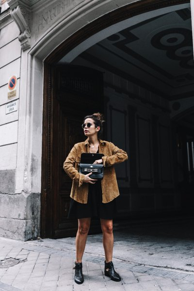 camel suede shirt with black mini shift dress