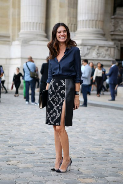 navy blue silk button up blouse with black and silver sequin midi skirt