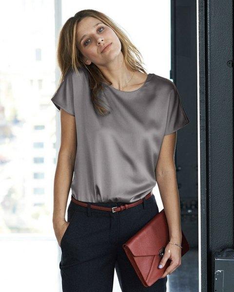 light gray silk sleeve top with black chinos