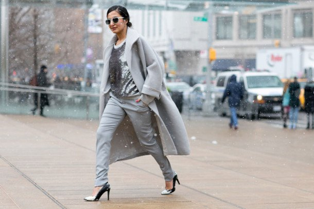 gray wool long coat with silver sequin blouse