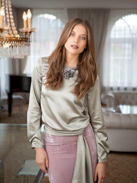 silver blue waist blouse with gray midi silk skirt