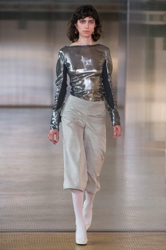 metallic blouse with gray cropped wide leg pants