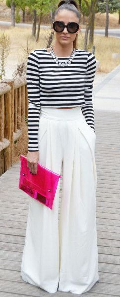 black and white striped long sleeve cropped t-shirt with wide leg dress pants
