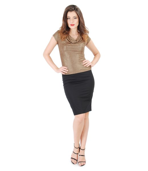 short short sleeve top in gold neck with black mini skirt
