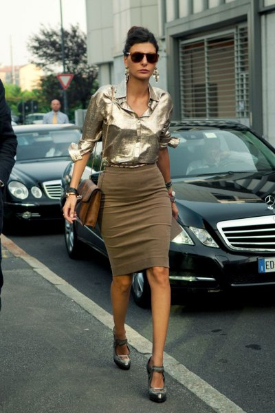metallic blouse with green bodycon midi skirt