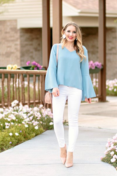 teal blue watch sleeveless blouse with white skinny jeans
