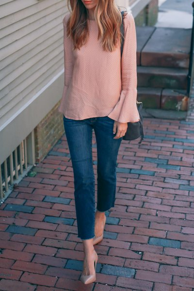 blush pink dress sleeve chiffon blouse with blue skinny jeans