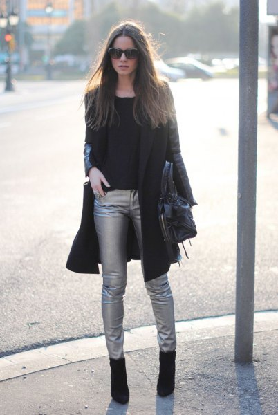black long blazer with silver skinny pants