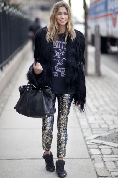 black faux fur with sequin trousers
