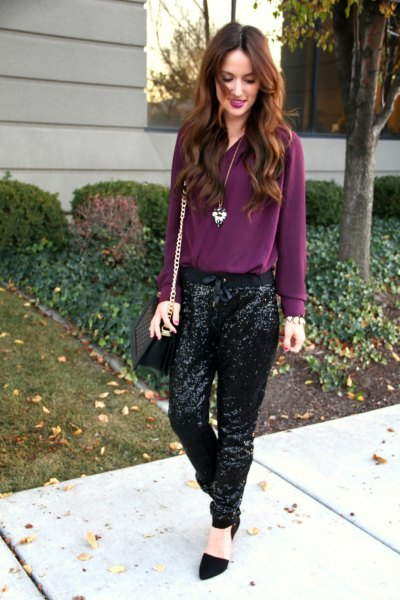 purple chiffon blouse with black sequins