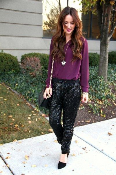 purple chiffon blouse with black sequins