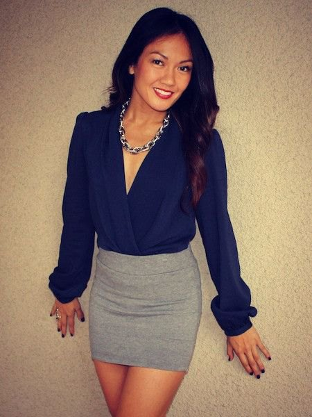 deep blue blouse with gray wool mini bodycon skirt